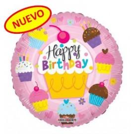 Globo Happy Birthday  Cupcake metalizado 18pulg