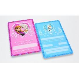 Tarjetas Invitación Frozen x8 Ronda