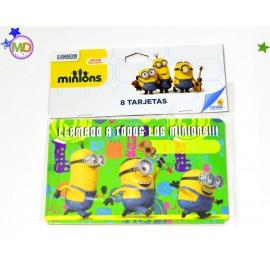 Tarjetas Invitación Minions x8 Ronda