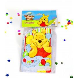 Tarjetas Invitación Winnie the Pooh x8 Ronda