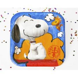 Platos Snoopy 7pulg x8 Cuadrado Importado