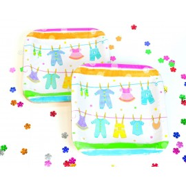 Platos Baby Clothes  Cuadrados Cartón x8 Importados