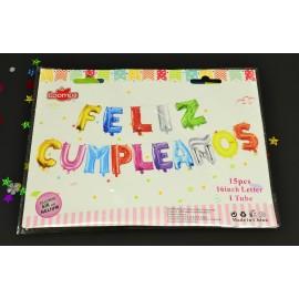 Globos Letrero Feliz Cumpleaños Colores Importado