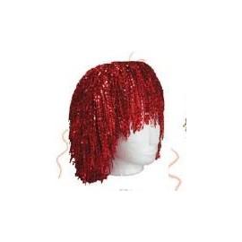 Peluca metalizada roja
