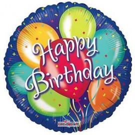 Globo metalizado 18pulg Happy Birthday in blue