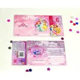 Tarjetas Invitación Princesas x8 Ronda