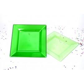 Platos Cuadrados 6.5 pulg. en Colores Traslucidos x10