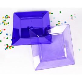 Platos 9.5pulg Cuadrados x10 Colores Traslucidos Importado